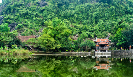 Phu Khong Temple at the Trang An Scenic Landscape Complex in Vietnam