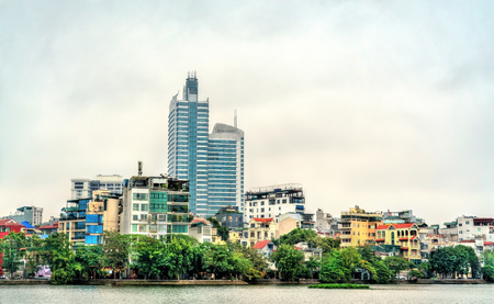 Cityscape of Hanoi at Truc Bach Lake, Vietnam