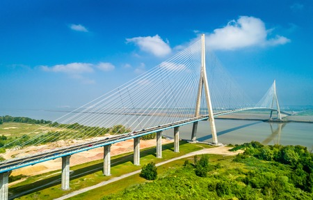 The Pont de Normandie, a road bridge across the Seine linking Le Havre to Honfleur in Normandy, France