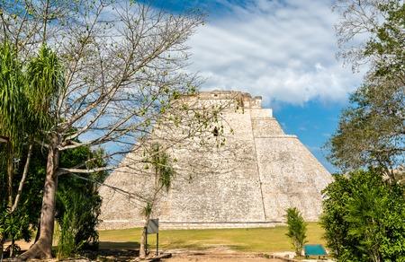 Piramide del adivino or the Pyramid of the Magician at Uxmal in Mexico