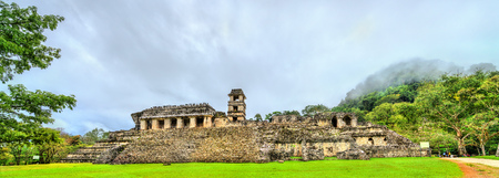 The Palace at the Palenque Maya Archeological Site.