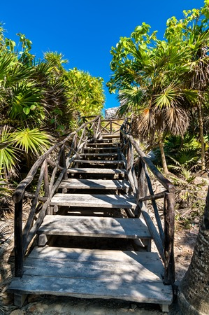 Wooden stairs at the Tulum Archaeological Site, Mexico 写真素材