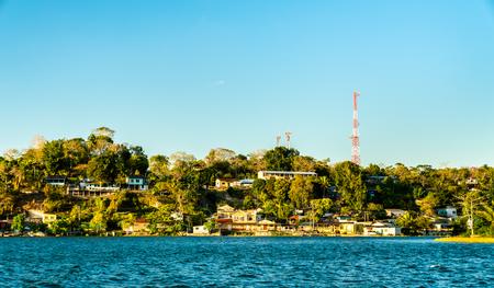View of San Miguel Village across Lake Peten Itza, Guatemala
