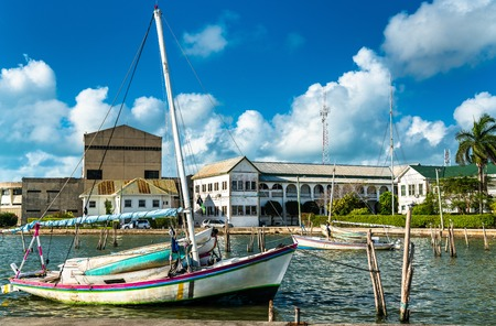 Yacht at Haulover Creek in Belize City Stock Photo