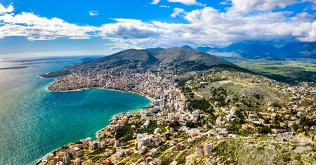 Aerial view of Saranda with Lekuresi Castle in Albania Banco de Imagens