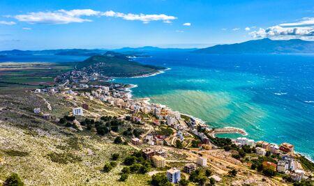 Aerial view of Saranda, Albania