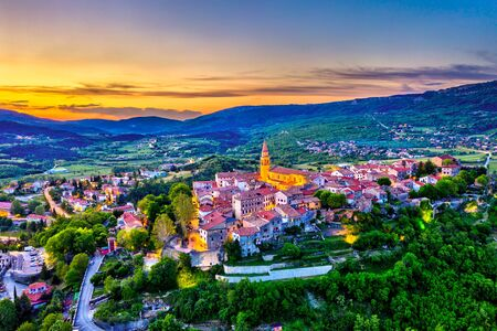 Aerial view of Buzet town in Istria, Croatia
