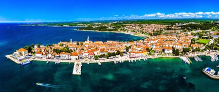 Aerial view of the old town of Porec in Croatia