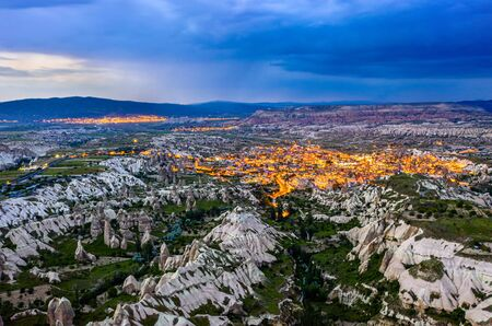 Aerial view of Goreme at sunset. Cappadocia, Turkey Imagens