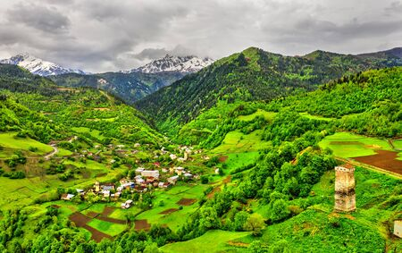 Nakipari village in Upper Svaneti, Georgia