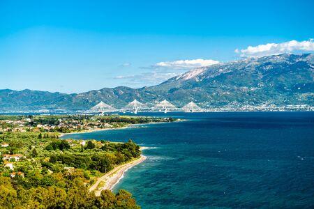Rio-Antirrio bridge across the Gulf of Corinth in Greece
