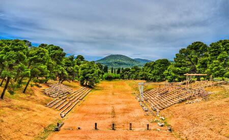 Ancient Stadium of Epidavros in Greece 스톡 콘텐츠