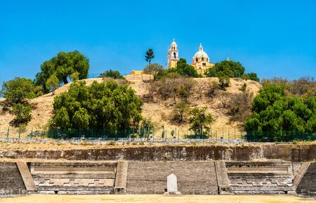 The Great Pyramid and the Our Lady of Remedies Church in Cholula, Mexico