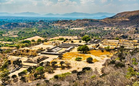 Aerial view of Yagul, a Zapotec archaeological site near Oaxaca in Mexico 스톡 콘텐츠