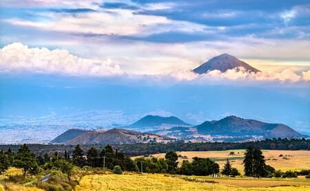 View of the Popocatepetl Volcano in the State of Mexico