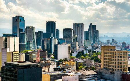 Skyline of the business district in Mexico City, the capital of Mexico
