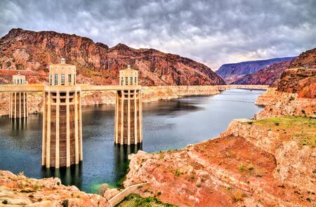 Penstock towers at Hoover Dam on the Colorado River, the USA Stock Photo
