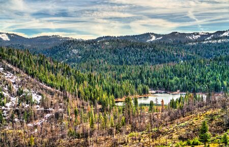 View of Hume Lake within Sequoia National Forest in California 写真素材