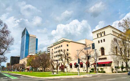 Capitol Mall Boulevard in Sacramento, California. Stock Photo