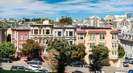 Painted Ladies, traditional Victorian houses in San Francisco - California, United States Banco de Imagens