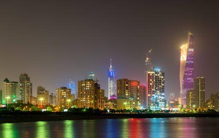 Night skyline of Kuwait City. The capital of Kuwait, a Persian Gulf country