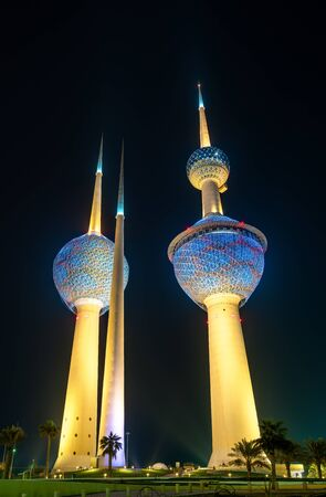 View of the Kuwait Towers at night. Kuwait City, the Middle East