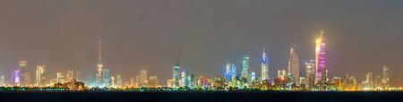 Night skyline of Kuwait City. The capital of Kuwait, a Persian Gulf country Stock fotó