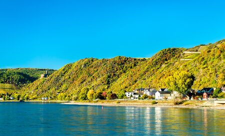 The Upper Middle Rhine Valley at Sankt Goarshausen in Germany Banque d'images
