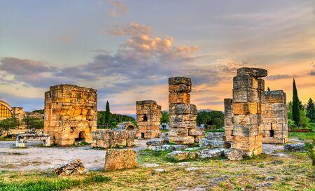 Ancient ruins at Hierapolis in Pamukkale, Turkey