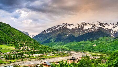 The Caucasus Mountains at Mestia - Upper Svaneti, Georgia Banco de Imagens