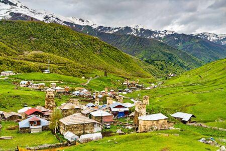Ushguli with traditional Svan towers. Upper Svaneti, UNESCO world heritage in Georgia