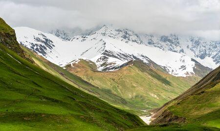 Shkhara Glacier near Ushguli village in the Caucasus Mountains, Georgia