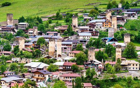 Mestia town in Upper Svaneti, Georgia Banco de Imagens