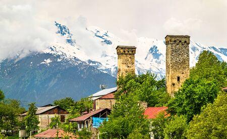 Tower houses in Mestia - Upper Svaneti, Georgia