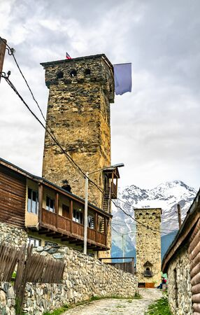 Defensive Svan Towers in Mestia, Georgia Banco de Imagens