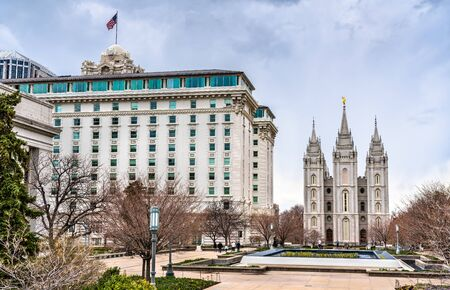 The Joseph Smith Memorial Building and The Mormon Temple in Salt Lake City - Utah, United States