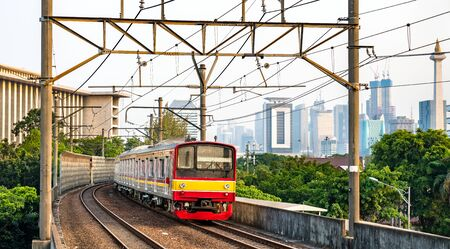 Commuter train in Jakarta, the capital of Indonesia Zdjęcie Seryjne