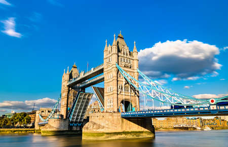Opened Tower Bridge across the Thames River in London