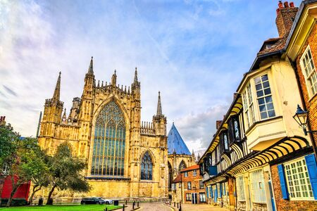 Houses and the Minster in York. England, UK