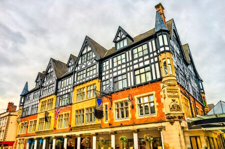 Traditional English houses in Chester, England Stok Fotoğraf - 148176612