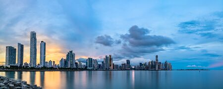 Evening skyline of Panama City, Central America