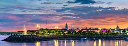 Casco Viejo, the historic district of Panama City at sunset