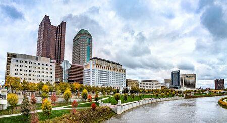 Cityscape of Columbus above the Scioto River - Ohio, United States