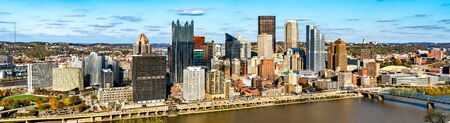 Panorama of Downtown Pittsburgh with the Monongahela River in Pennsylvania