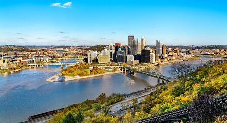 Panorama of Downtown Pittsburgh, known as the Golden Triangle. Pennsylvania, USA