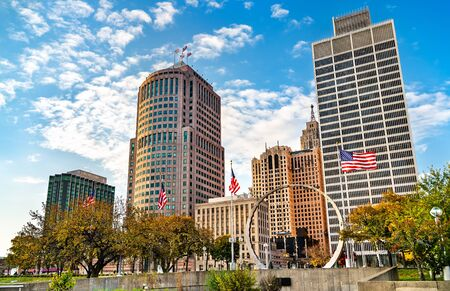 Downtown Detroit from Hart Plaza. USA