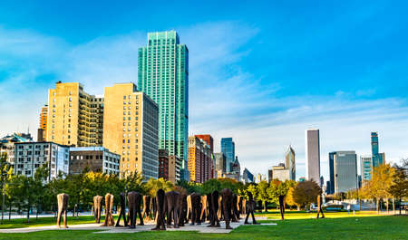Agora, an installation of 106 headless and armless iron sculptures at the south end of Grant Park in Chicago Editorial