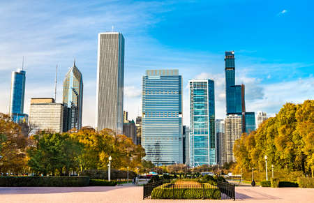 Skyline of Chicago at Grant Park in Illinois, United States