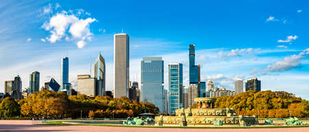 Skyline of Chicago and Buckingham Fountain at Grant Park in Illinois, United States