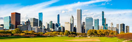 Skyline of Chicago at Grant Park in Illinois - United States